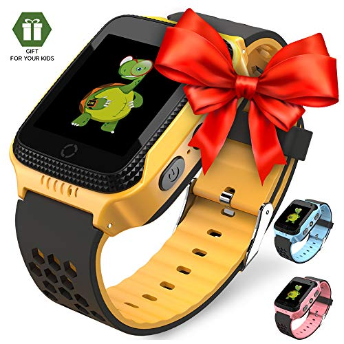OLTEC 【2019 Update】 Smart Watch for Kids - Smart Watches for Boys Smartwatch GPS Tracker Watch Wrist Android Mobile Camera Cell Phone Best Gift for Girls Children boy Pink Blue Yellow (Track The Present Location Of Mobile No)