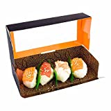 Sushi Box, Sushi To Go Box, Sushi Take Out Container with Window - Black - 8'' x 3.5'' - Carry Out Sushi - Asian Design - 200ct Box - Restaurantware