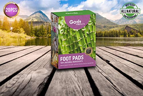 Pack of 20 Bamboo Foot Patches | Bamboo Vinegar Foot Pads | All Natural & Premium Ingredients for Relief & Results | Apply, Sleep & Feel Better | No Stress Packaging | Improve Your Sleep Overnight