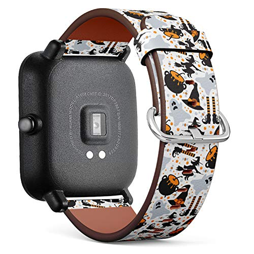 S-Type Quick Release Leather Bracelet Watch Band Strap Replacement Wristband Compatible for Xiaomi Huami Amazfit Bip - Halloween Pattern of Pumpkin, Ghost, bat, Candy and Witch Hats -