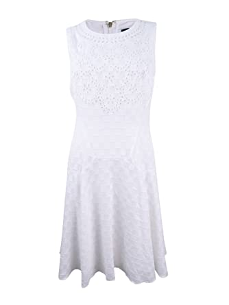 991f098cb7d Tommy Hilfiger Women's Eyelet Lace Fit & Flare Dress (4, Ivory) at Amazon Women's  Clothing store: