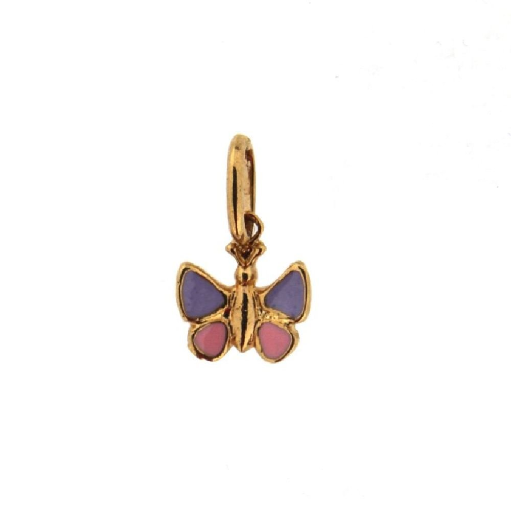 18K Yellow Gold Lilac and Pink enamel Butterfly pendant H 0.35 Inch
