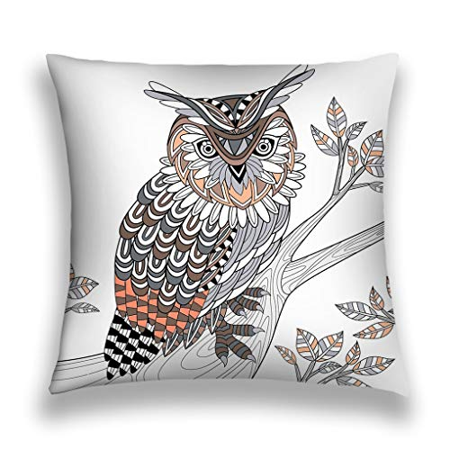 YILINGER Throw Pillow Cushion Cover, Colorful Modern Design Digital Modern Art Print, Decorative Square Accent Pillow Case, 18 X 18 inches, Wise owl Coloring Page Exquisite Style Halftone