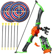 SMALL FISH Bow and Arrow for Kids 3-12 Years Old, Youth Archery Toy Set with 6 Suction Cup Arrows and 2 Target