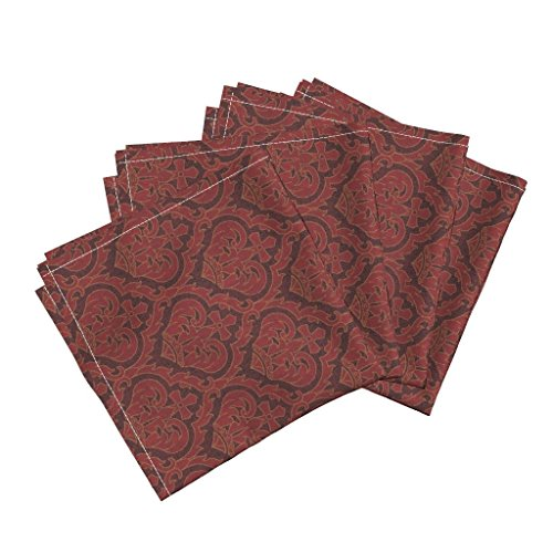 Damask Victorian Crown Renaissance Medieval Art Nouveau Red Linen Cotton Dinner Napkins Royal Serpentine 1A By Muhlenkott Set Of 4 Dinner Napkins