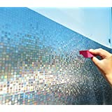 BESTERY Window Film Frosted Static Translucent Opaque Window Tint Stickers Stained Glass Window No-glue Self Static Cling for Home Bedroom Bathroom Kitchen Office 17.7 by 78 Inches (Mosaic)