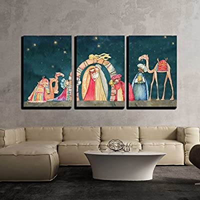 3 Piece Canvas Wall Art - Illustration Christian Christmas Nativity Scene with The Three Wise Men - Modern Home Art Stretched and Framed Ready to Hang 24