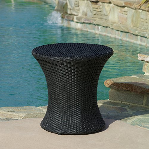 Lorenzo Outdoor Black Wicker Accent Table by Great Deal Furniture