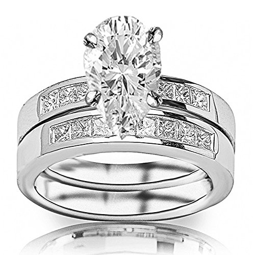14K White Gold 1.35 CTW Classic Channel Set Princess Cut Diamond Engagement Ring and Wedding Band Set w/ 0.5 Ct GIA Certified Pear Cut I Color VS2 Clarity Center