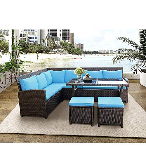 (Hommoo 6 Piece Wicker Sectional Sofa Set Outdoor Patio Furniture, Half-Moon PE Rattan Garden Sofa Furniture Sets, Cushioned Dining Table Set with Glass Table and Stool, Blue)