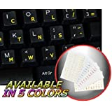 DVORAK SIMPLIFIED KEYBOARD STICKER WITH YELLOW LETTERING TRANSPARENT BACKGROUND FOR DESKTOP, LAPTOP AND NOTEBOOK