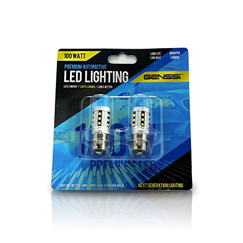 Genssi Elite 100W White H6m 70023 LED 12V ATV Scooter LED Lamp Headlight Light Bulbs (Pack of 2)