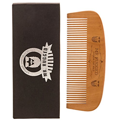 Mr Rugged Wooden Beard Comb - One of a Kind Wood Beard Comb Handmade from Pear Wood - Brushes Distributes Beard Oil & Balm - Gentler to Hair Than Metal & Plastic Comb and Brush Products