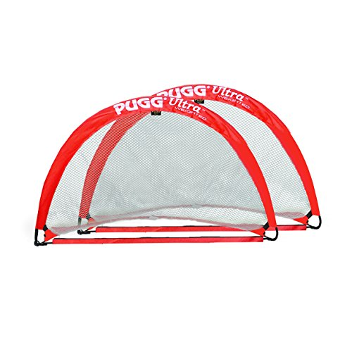 PUGG - Ultra Q5 Weighted Pop Up Soccer Goal - Portable Training Football Net - Pair (Red) by PUGG