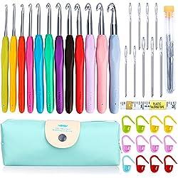 KeNeer 35Pack Crochet Hooks Set Ergonomic Soft Handles - Aluminum Blunt Needles - Knitting Needle - 2.0mm-8.0mm - Best Gifts for Mom
