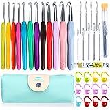 KeNeer 35Pack Crochet Hooks Knitting Needles Set Ergonomic Soft Handles - Aluminum Blunt Needles - 2.0mm-8.0mm - Best Gifts for Mom (35Pack)