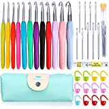 KeNeer 35Pack Crochet Hooks Set Ergonomic Soft Handles - Aluminum Blunt Needles - Knitting Needle - 2.0mm-8.0mm - Best Gifts for Mom
