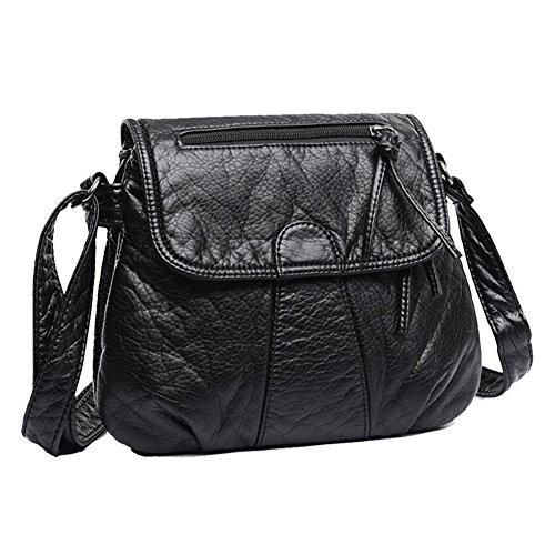 Womens Designer Purses and Handbags Ladies Shoulder Bags Top-Handle Satchel Tote Bags Leather Purse (Black)