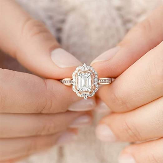 Weiy circón Cuadrado Cristal Anillo Moderno Charming Elegante Exquisite Diamante Rose Oro Anillo de Matrimonio Novia Anillo de Compromiso Joyas Accesorios para Mujeres niña, Oro Rosa, 8: Amazon.es: Hogar