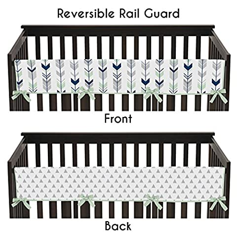 Sweet Jojo Designs Grey, Navy Blue and Mint Woodland Arrow Long Front Rail Guard Baby Teething Cover Crib Protector - Crib Teething Rail Cover