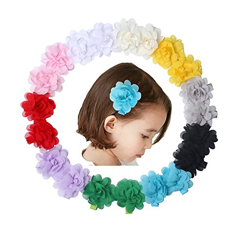 "Globalsupplier 10 Pairs 2"" Chiffon Flower Hair Bow Clips Barrettes Pins Accessories For Baby Toddler Girls Teens Kids from Globalsupplier"