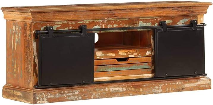 vidaXL Mueble para la TV Madera Maciza Reciclada 110x30x45cm Mobiliario Hogar: Amazon.es: Electrónica