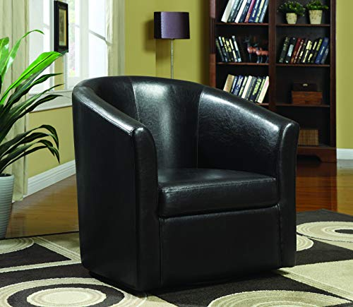 Vinyl Upholstery Accent Swivel Chair Dark Brown
