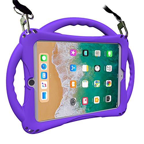 TopEsct iPad 9.7 inch 2018/2017 Kids Case,iPad Air Case, Soft Silicone Childproof Handle Stand Case for iPad 5th Gen(2017),iPad 6th Gen(2018) and iPad Air(2013) (Violet)