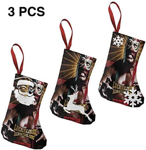 クリスマスの日の靴下 (ソックス3個)クリスマスデコレーションソックス レスリング大会ポスター クリスマス、ハロウィン 家庭用、ショッピングモール用、お祝いの雰囲気を加える 人気を高める、販売、プロモーション、年次式