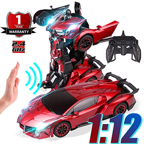 LANKEE RC Deformable Car Robot,1:12 Largest Size Autobot,One-Click and Induction Deformation,Auto Demo,Exciting Voice Cool Light,2.4GHz Remote Control Car for Boys Girls,Red