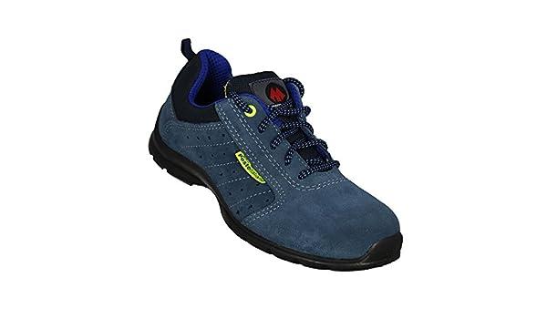 AIMONT - Calzado de protección de Piel para hombre negro negro, color azul, talla 43 EU