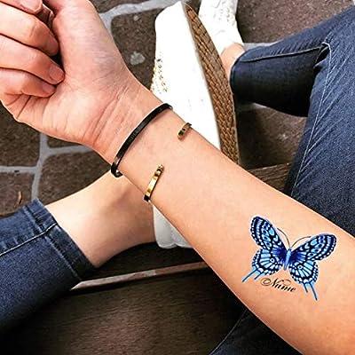 Tatuaje Temporal de Mariposa personalizada con nombres (2 Piezas ...