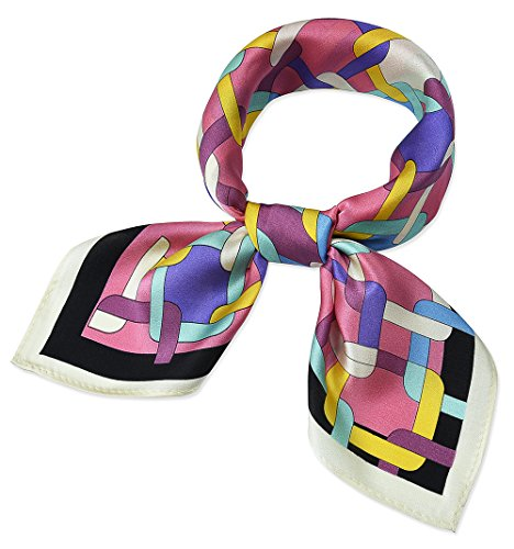 100% Real Mulberry Silk 21 Women's Square Scarfs Scarves Flamingo Pink Square Grid Lattice Buckles Pattern