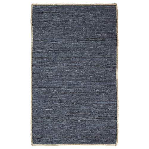 Superior Kerani Hand Crafted Leather with Jute and Cotton Area Rug 8' x 10' - Kitchen, Dining, Living Room - Steel Blue