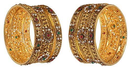 Shiv_Collection Indian Polki Bangle Gold Tone Ethnic Traditional Bollywood Fashion Jewelry (2.4)