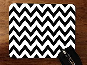 Black And White Zigzags Desktop Mouse Pad