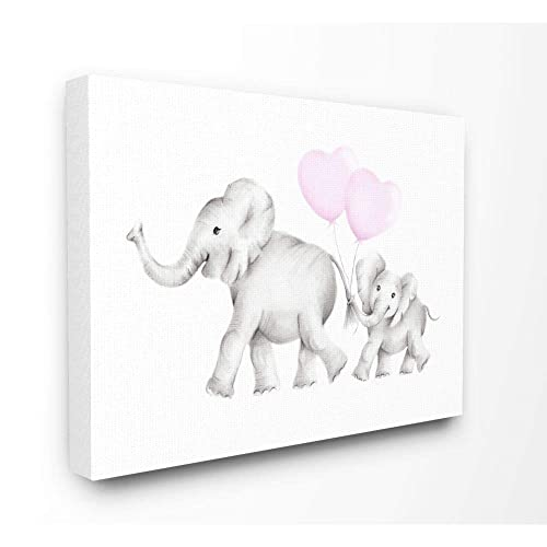 Stupell Industries Mama and Baby Elephants Stretched Canvas Wall Art, 16 x 1.5 x 20, Proudly Made in USA