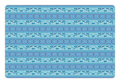 Ambesonne Whale Pet Mat for Food and Water, Ocean Inspired Pattern with Geometrical Borders Fish and Scallops, Rectangle Non-Slip Rubber Mat for Dogs and Cats, Turquoise Lilac Blue