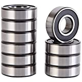 XiKe 10 Pack 6202-2RS Precision Bearings 15x35x11mm, Rotate Quiet High Speed and Durable, Double Seal and Pre-Lubricated, Deep Groove Ball Bearings.