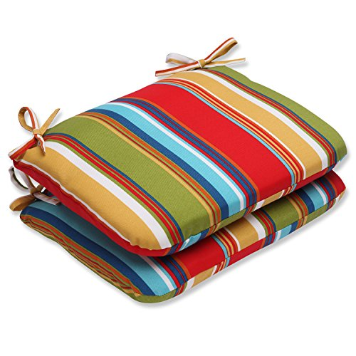 Pillow Perfect Outdoor Westport Garden Rounded Corners Seat Cushion, Multicolored, Set of 2