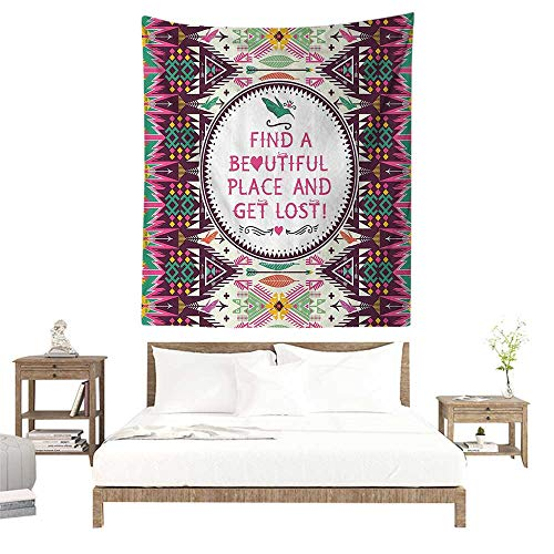 alisoso Wall Tapestries Hippie,Quote,Tribal Decor Abstract Aztec Pattern with Geometric Elements Decorative Design Print,Multicolor W32 x L32 inch Tapestry Wallpaper Home Decor]()