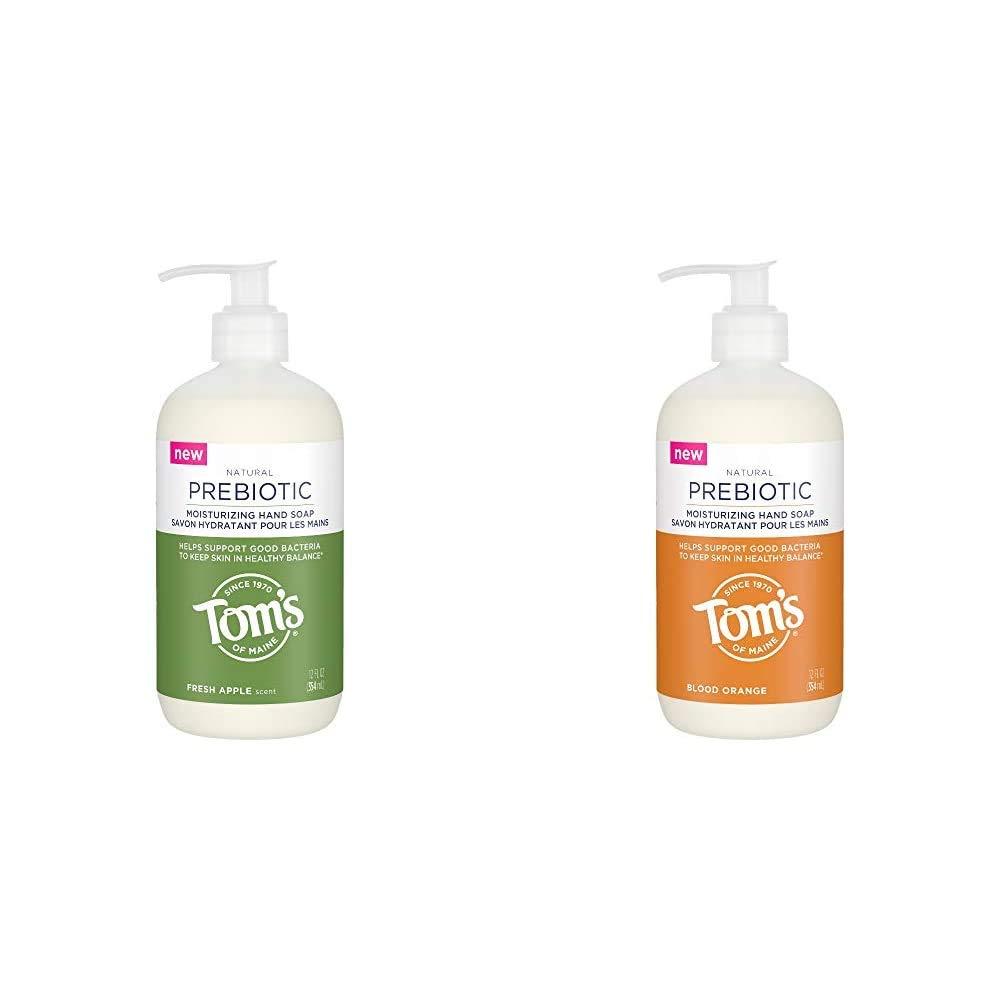 Tom's of Maine Prebiotic Moisturizing Natural Liquid Hand Soap, Fresh Apple, 12 oz. with Tom's of Maine Prebiotic Moisturizing Natural Liquid Hand Soap, Blood Orange, 12 oz.