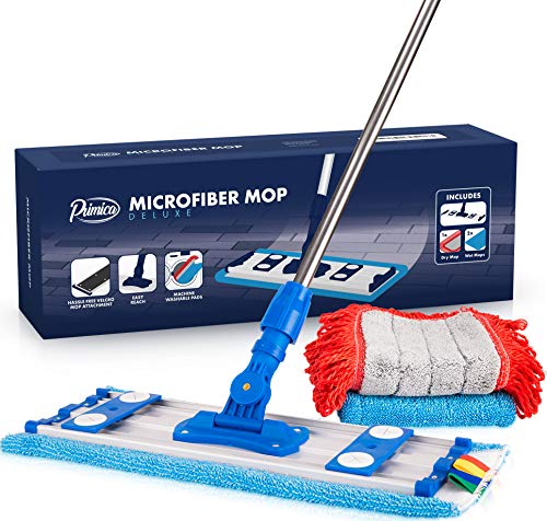 Microfiber Mop Kit - Professional Mops for Floor Cleaning - Easy Microfiber Mopping for Laminate, Hardwood, Tile, Bamboo and Stone Floors - Dredge Mop Pads Included - Telescopic Handle