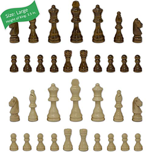Staunton Chess Pieces by GrowUpSmart with Extra Queens | Size: Large - King Height: 3.5 inch | Wood