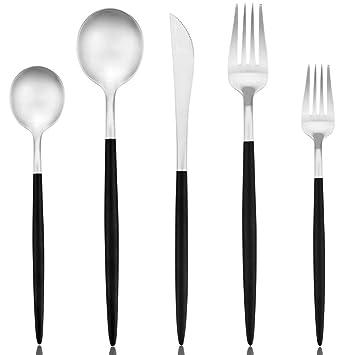 20 piezas de cubertería conjunto vajilla de acero inoxidable Set vajilla conjunto cubiertos conjunto incluyendo tenedor cuchillo cucharas servicio para ...