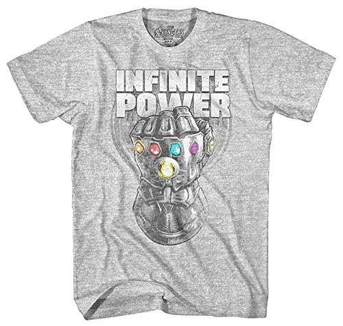 - Infinity War Thanos Infinite Power Men's T-Shirt- Large Heather Grey