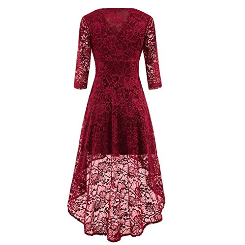 d55280b8f912 Women's Vintage Lace Dress,Toponly Womens Vintage Lace V Neck Dovetail  Irregular Dress For Wedding Cocktail Party Casual (FASHION Wine red, 2XL)
