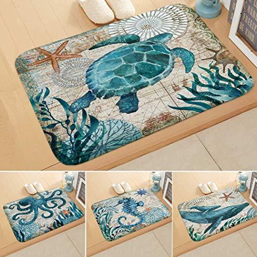 KOKOBUY Marine Life Pattern Floor Mat Door Mat Bedroom Bathroom Home Absorbent Non-Slip Carpet Mat Area Rugs (16x24in) ()