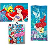 15pc Disney Ariel Little Mermaid Shower Curtain Bath Towel Foam Mat Hooks Set