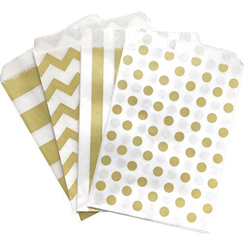 Gold and White Treat Sacks - Chevron Polka Dot Stripe Favor Bags - 5.5 x 7.5 Inches - 48 Pack]()